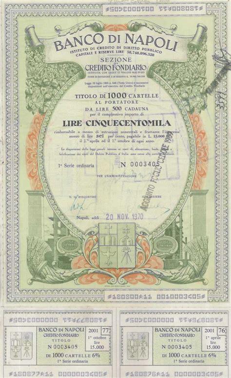 Banca Italia Napoli by Storia Delle Banche Italiane Banco Di Napoli Scripomarket
