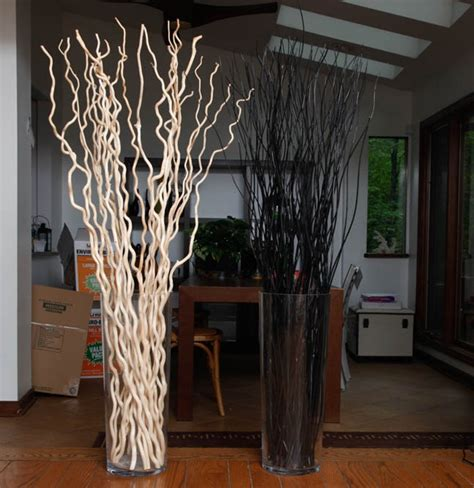 pair of large glass vases and decorative sticks ebth