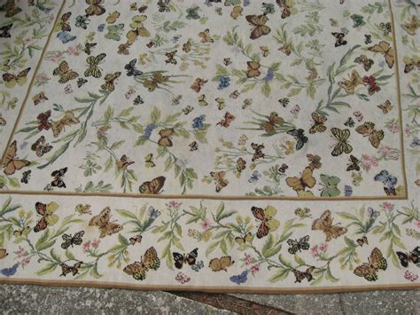 butterfly rug vintage needlepoint butterfly rug at 1stdibs