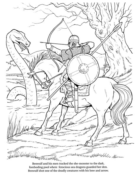 Beowulf Coloring Pages welcome to dover publications