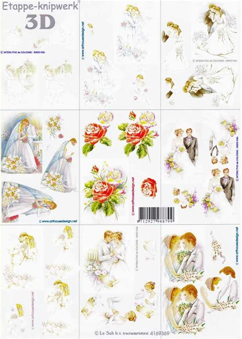Wedding Decoupage Sheets - mini wedding designs 3d decoupage sheet
