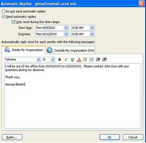 Out Of Office Message by Setting Up Out Of Office Messages In Outlook 2010