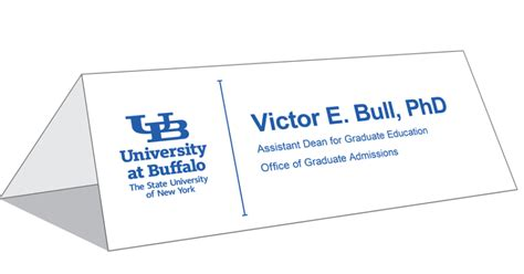 Table Tent Cards Identity And Brand University At Buffalo Name Tent Card Template