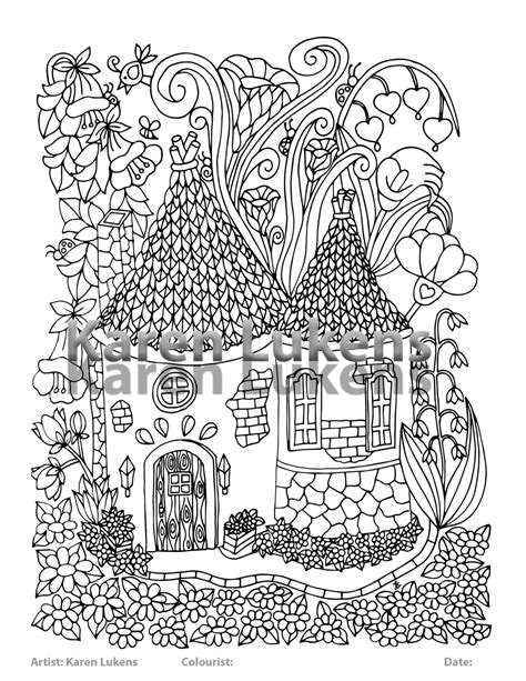 printable fairy house fairy house 5 1 adult coloring book page printable instant