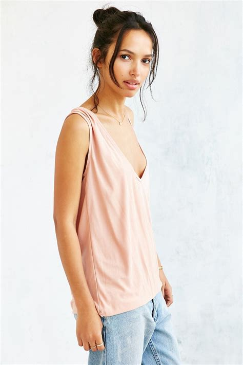 Shoulder Tank Blouse Pink lyst silence noise one shoulder surplice tank top in pink