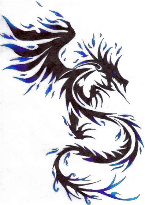 tribal tattoo dragon blue tribal design by kitsune lunar