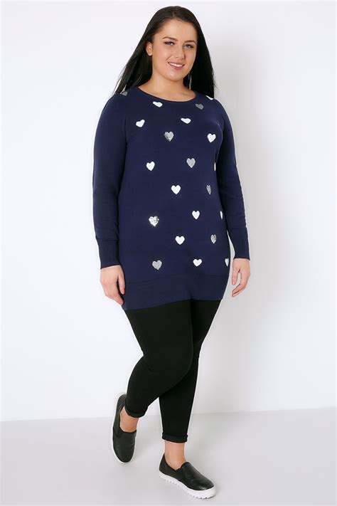 jumper pattern plus size navy longline knitted jumper with sequin heart pattern