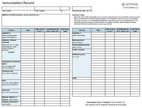 Child Immunization Record Template Templates Resume Exles Klyn5kxako Record Template Software
