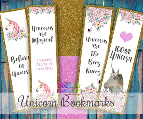 printable unicorn bookmarks printable unicorn bookmarks digital book marks by