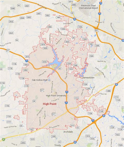 high point north carolina map