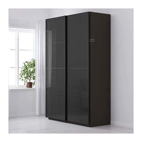 ikea pax kleiderschrank planer pax wardrobe black brown uggdal grey glass 150x66x236 cm