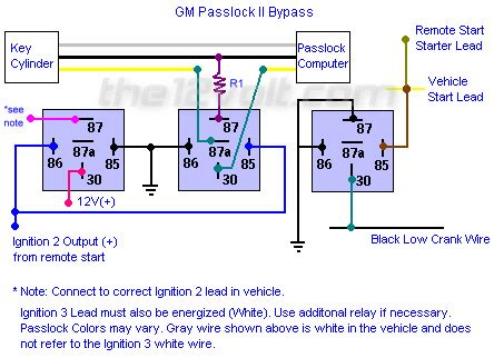 how to wire relays gm vehicle anti theft system passkey ii