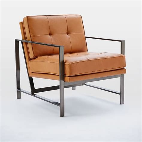 steel armchair metal frame tufted leather chair west elm