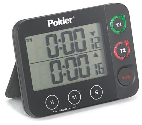 polder digital dual timer with led alert black