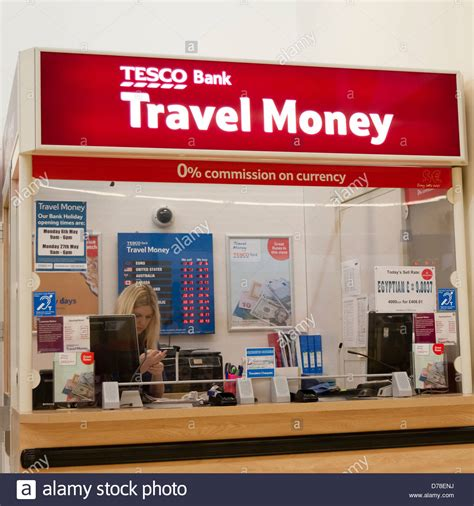 reset tesco online banking tesco bank travel money kiosk uk stock photo royalty