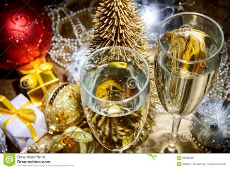 new year composition new year composition with chagne and gifts stock photo