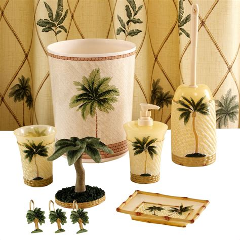 palm tree bathroom accessories essential home royal palm bowl brush