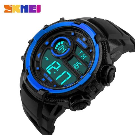 jam tangan adidas digital blue skmei jam tangan digital pria dg1113 black blue