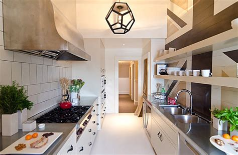 galley style kitchen decorating ideas using lighting