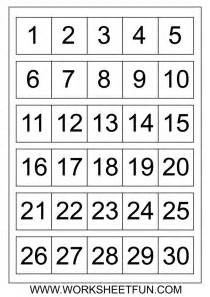 7 best images of printable number chart 1 30 number