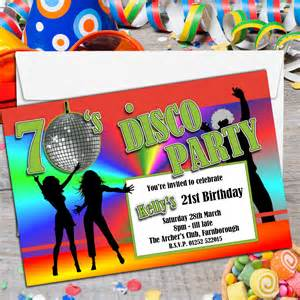 10 personalised 70 s disco birthday invitations n131