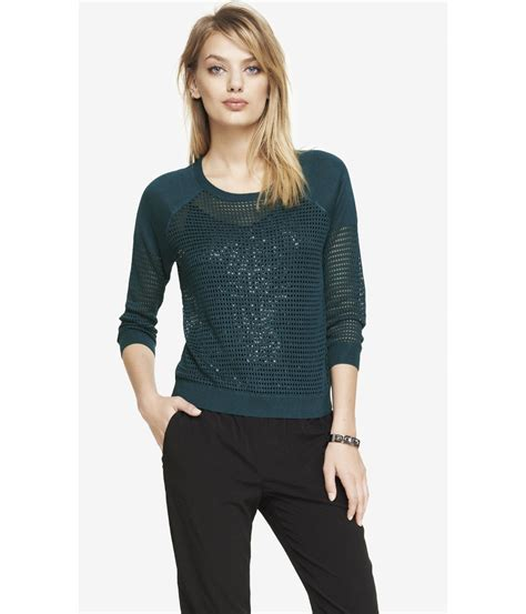 Sweater Tamiya Cloth 1 express raglan sleeve open mesh sweater in blue venetian teal lyst