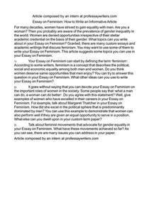 Feminism Essay by Calam 233 O Essay On Feminism How To Write An Informative Article
