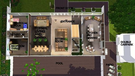 Mod the sims modern perspective open plan modern family home no cc