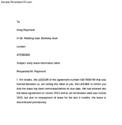 Lease Transfer Letter Exle Sle Of Early Lease Termination Letter Sle Templates