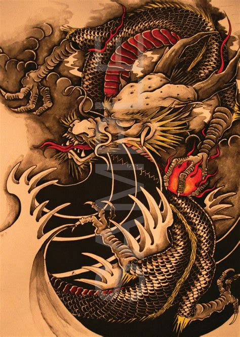 chinese dragon tattoo a3 poster print hal634 ebay