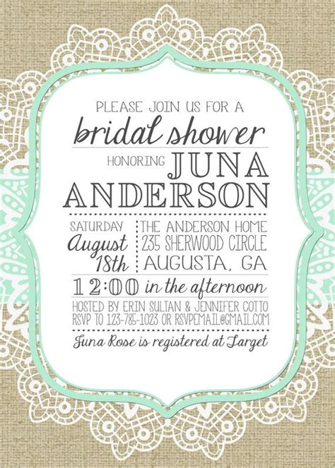 Lace Bridal Shower Invitations by 80 Best Images About Burlap Lace Bridal Shower On