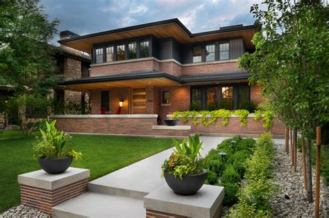 inspired homes frank lloyd wright inspired home with lush landscaping