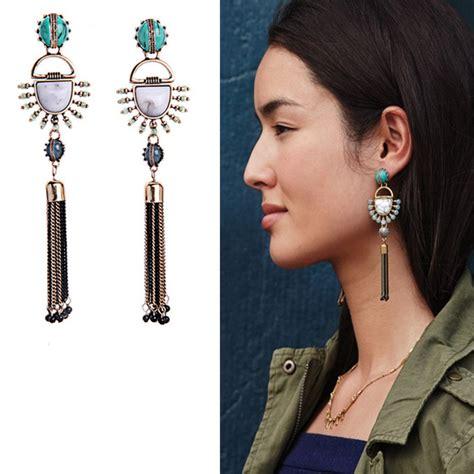 Kpop G Peaceminusone Necklace Pmo 2016 new tassel earrings kpop turquoise hanging earrings summer trendy ethnic jewelry earrings