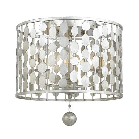 layla three light antique silver ceiling mount by crystorama