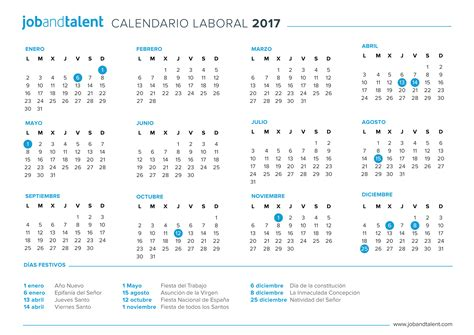 Calendario Barcelona 2017 El Calendario Laboral 2017