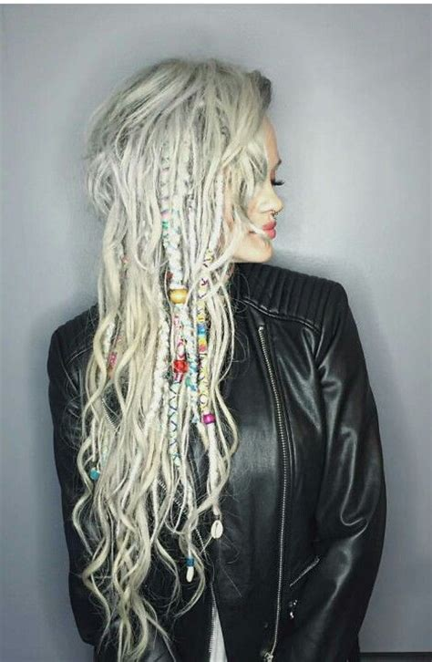 dradlock wool hairstyle silver braids dreads let down your hair pinterest