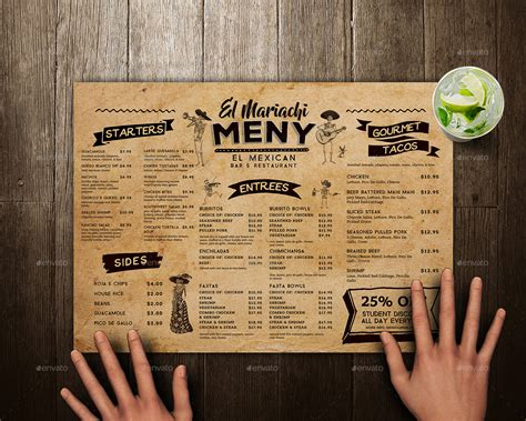 Placemat Menu Templates Mexican Food Menu Placemat Template By Vorsa Graphicriver