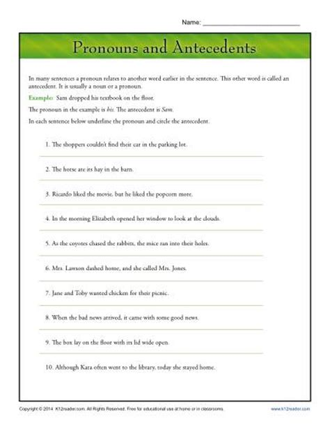 Pronouns And Their Antecedents Worksheet pronouns and antecedents pronoun agreement worksheet