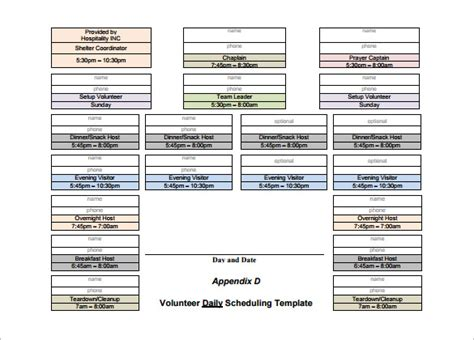 volunteer calendar template volunteer schedule templates 11 free word excel pdf