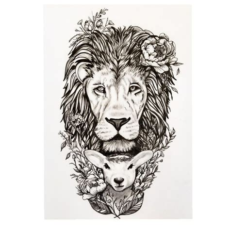 tattoo pen ink pen and ink tattoo design of quot the lion and lamb by sandy