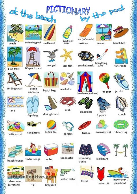 english vocab themes at the beach pictionary eng summer pinterest beach