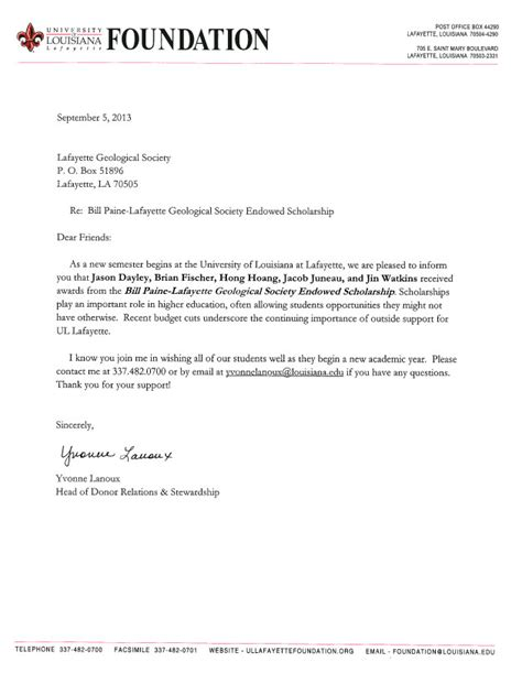Thank You Letter To Professor For Scholarship Scholarships 171 Lafayettegeologicalsociety Org