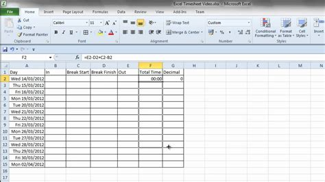 Timecard Spreadsheet by Simple Excel Timesheet