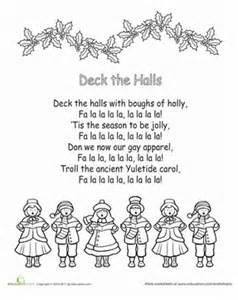 deck the halls lyrics quot deck the halls quot printable lyrics worksheet education