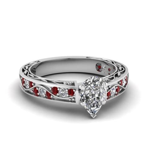 large selection of pear shaped engagement rings
