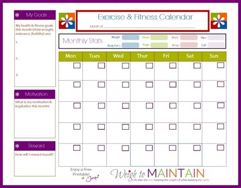 printable calendar exercise free diet and workout planner weigh to maintain