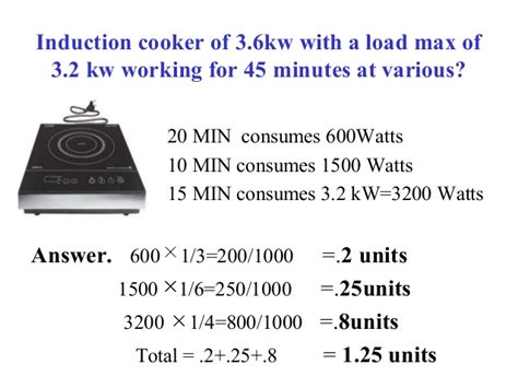 induction cooker how much electricity consumption per hour power consumption of household equipments in india