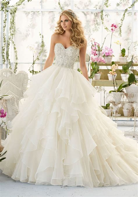 Dress E wedding dress with bodice on organza style 2815