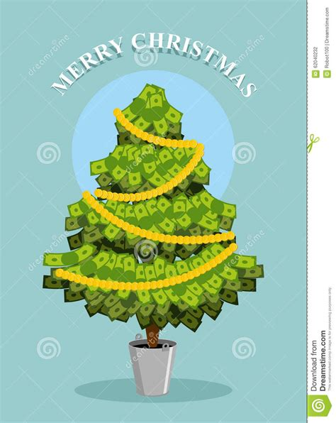 merry christmas moneytree greeting card with financial
