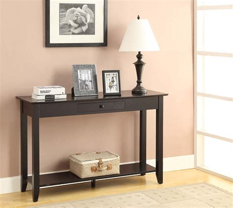 backyard chirper accsense american heritage black console table with drawer